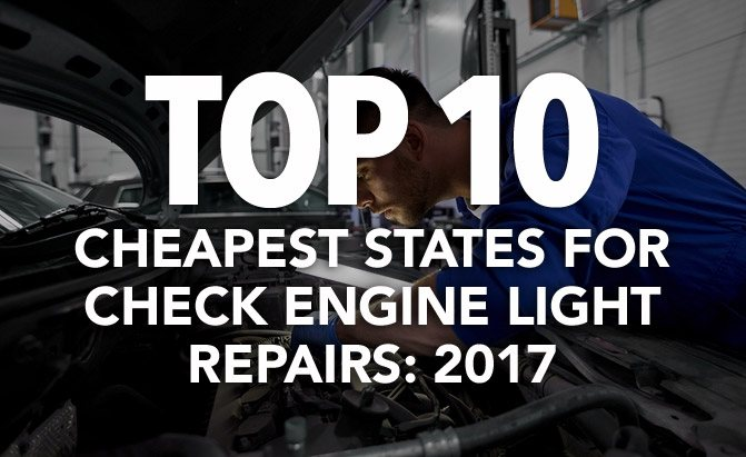 top 10 cheapest states for check engine light repairs