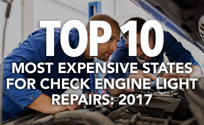 top 10 most expensive states for check engine light repairs
