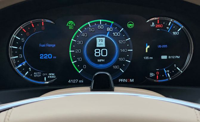A Cadillac gauge cluster