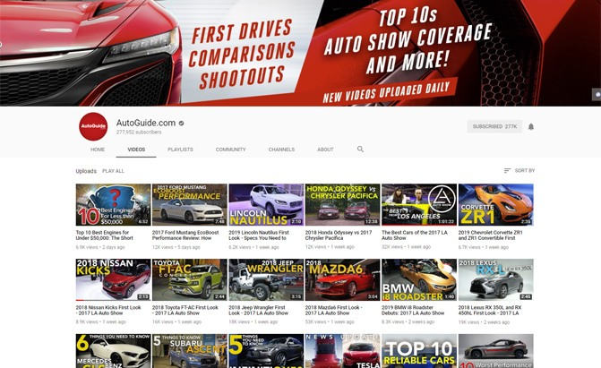 autoguide youtube page