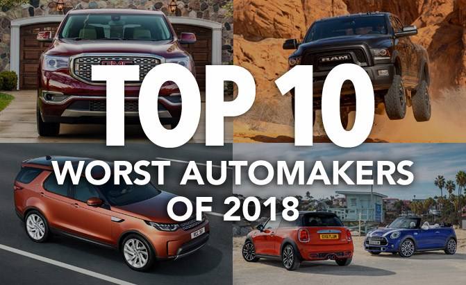 top 10 worst automakers of 2018