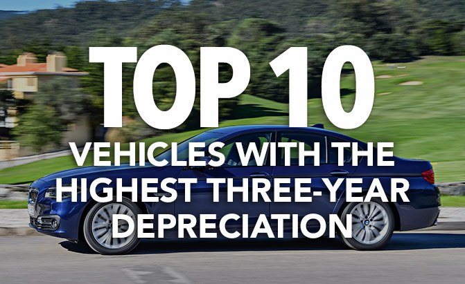 top 10 vehicles with the highest three-year depreciation