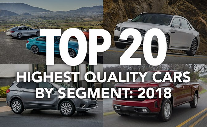 top 20 highest quality cars by segment 2018