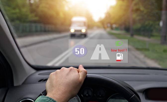 Head up displays for cars