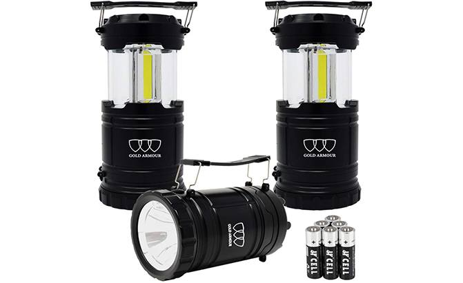 gold armour 2-pack portable led camping lantern