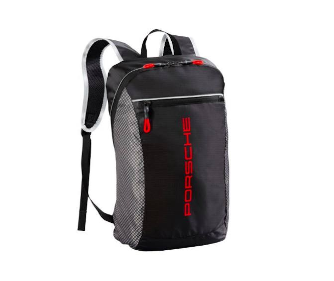 A red and black Porsche backpack