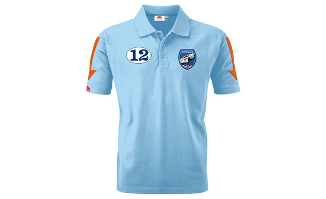 gulf racing blue polo shirt