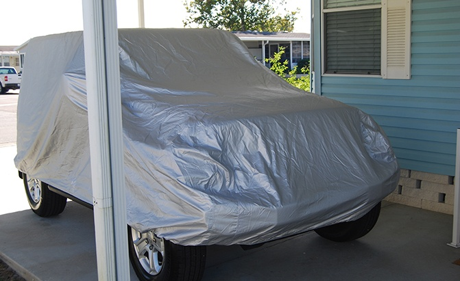 The CarCovers.com Platinum Shield SUV Cover is one of our best Jeep Wrangler accessories.