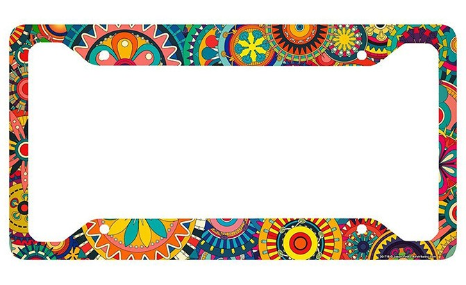 airstrike retro flower license plate frame