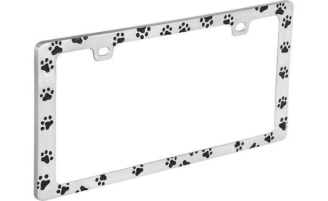 bell automotive black paw print license plate frame