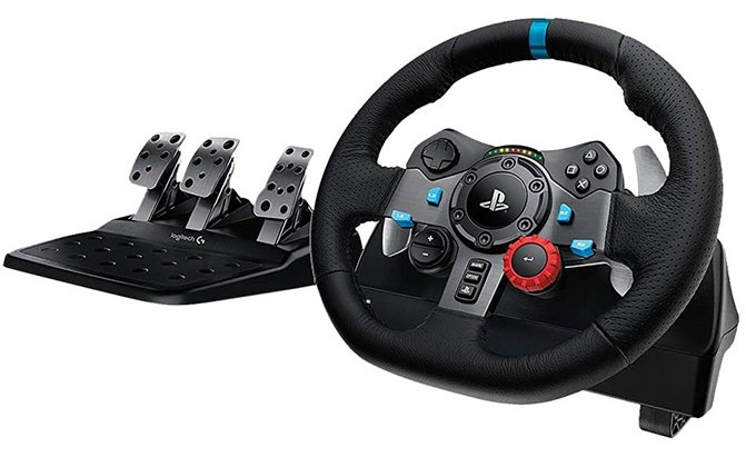 logitech g29 dual motor force feedback steering wheel and pedals