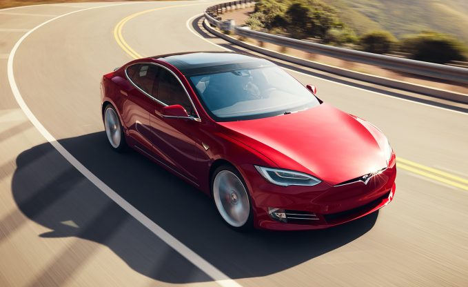 2018 Tesla Model S in red dynamic front three-quarter