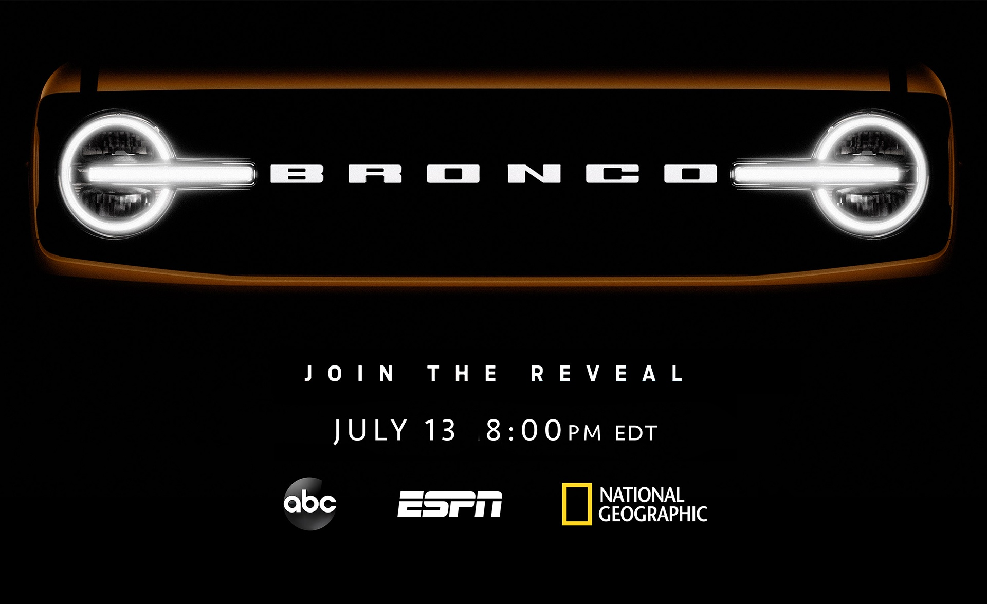 2021 Ford Bronco teaser image grille Disney network announcement
