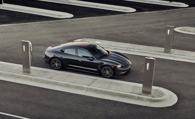 2021 Porsche Taycan 4S at charging station