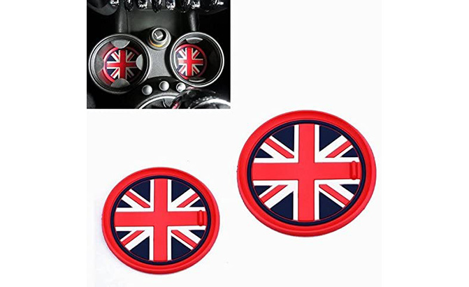 vciic red union jack style cup holder coasters
