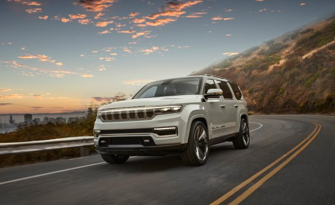 Jeep Grand Wagoneer Concept in white dynamic road shot