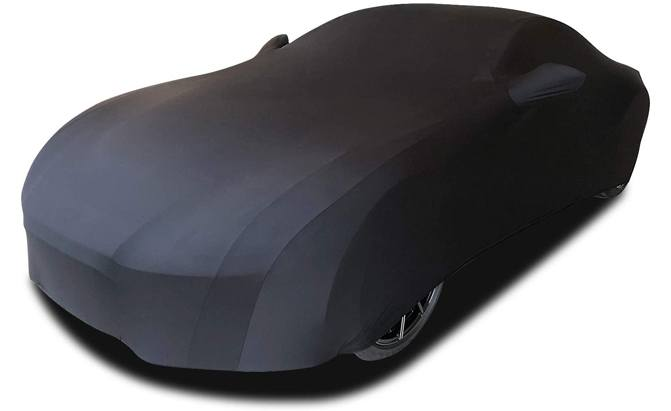 The WinPower Indoor Car Cover is made of a high-elastic polyester cloth that stretches between 15 – 21% to accommodate the bulges and curves in your car's shape.