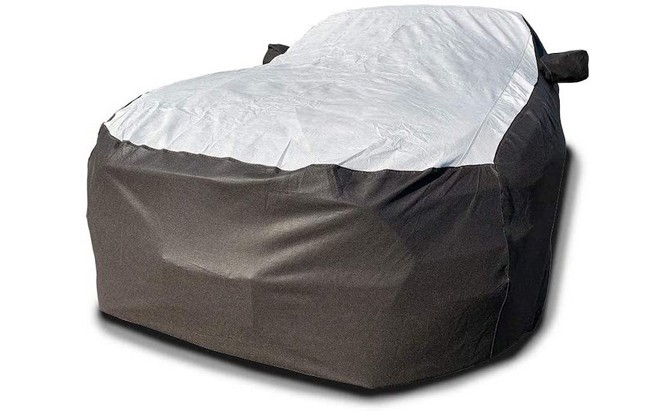 The Tuxcover Custom Fit Car Cover is made from high-density polyethylene (HDPE) fabric known as DuPont Tyvek, making it a solid pick for the best outdoor car covers.