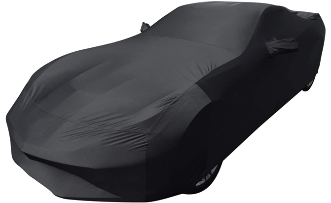 Made of a stretch polyester cloth, the Slanguage Indoor Sports Car Cover is sleek, black and tailored, boasting strong elasticity and wrinkle resistance.