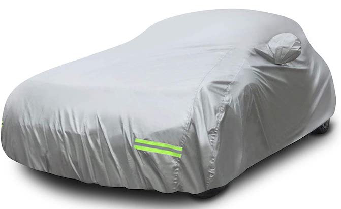 Mockins Heavy-Duty Polyester Car C boasts 190T silver polyester construction that is designed to protect your car from the elements in all seasons.