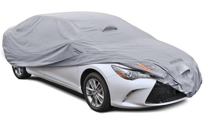 Motor Trend lends its name to the TrueShield Waterproof Car Cover, which is a heavy-duty outdoor car cover that has a fleece-lined interior and six-layer protection.