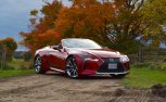2021 Lexus LC Convertible review in Infrared static front three-quarter shot