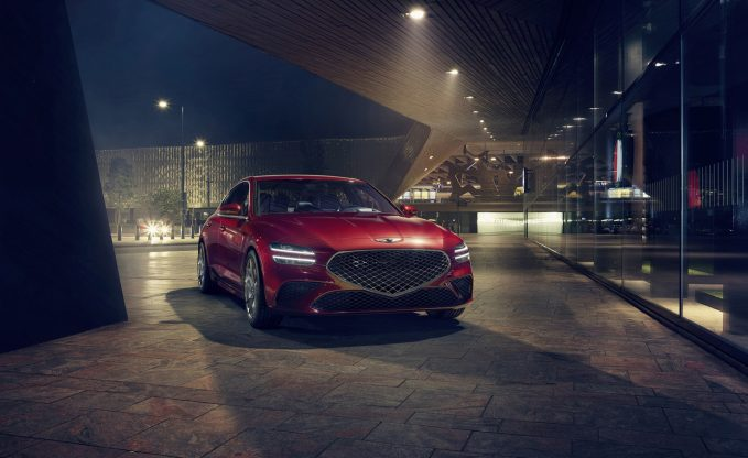2022 Genesis G70 in red static front three-quarter