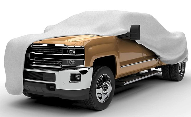 The EmpireCovers Titan 5-Layer Series Truck Cover defends your pickup against rain, sun, snow, dust, and dirt.