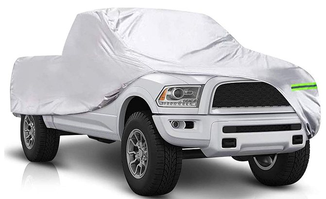 An affordable six-layer waterproof all-weather truck cover, the TONBUX Truck Cover includes layers of polyester, a protective coating, aluminum film, and cotton lining.