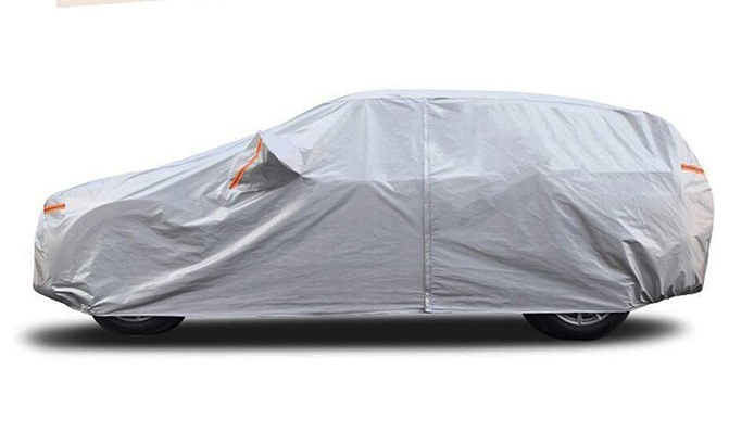The SEAZEN SUV Cover uses aluminum-infused fabric in its top two (of six) layers to reflect sunlight.