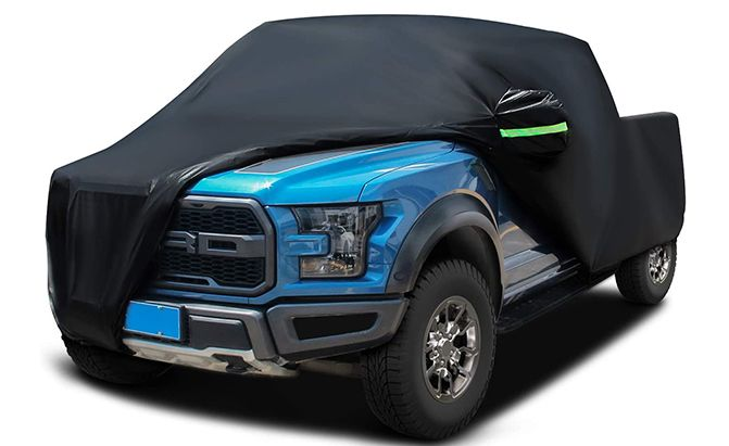 The Sailnovo Truck Cover is a black satin truck cover, and much like its grey and silver competitors, is made of a breathable polyester fabric that is waterproof, dust-proof, and heat-resistant.