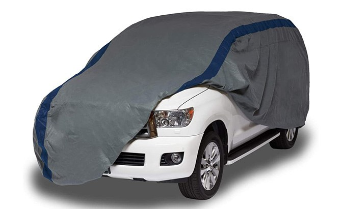 The Duck Covers Weather Defender SUV Cover, your SUV can make like a duck when it rains, and stay warm and dry when it's cold.