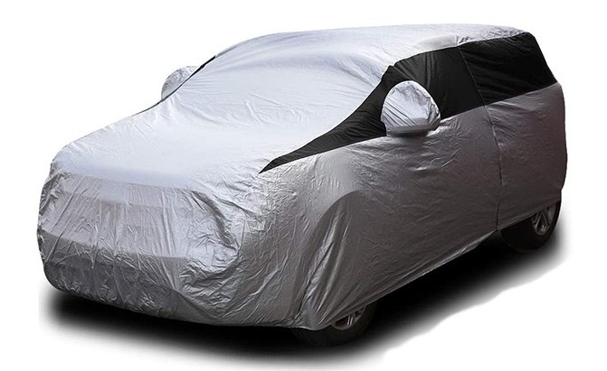 The Titan Lightweight SUV Cover is a reflective, waterproof cover that provides UV protection for outdoor use, but is handy for indoor use as well, making it one of the best SUV covers out there.