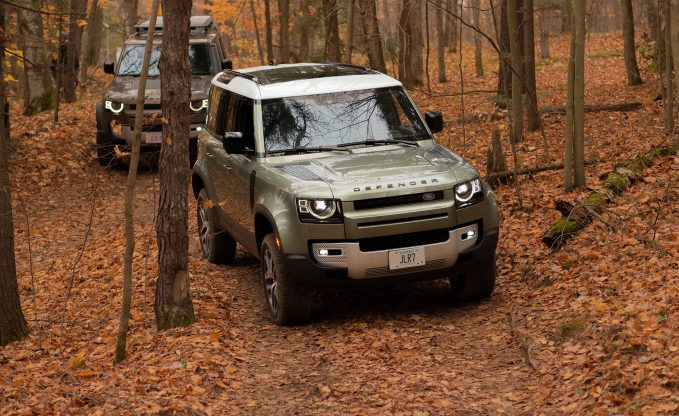 2020 Land Rover Defender 110 First Drive Review in Pangea Green off-roading in the autumn