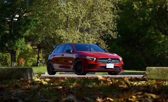 2020 Mercedes-AMG A35 in red front three-quarter static