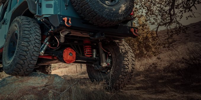 The MagnaFlow Overland Series performance exhaust on a Jeep Wrangler JK