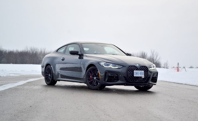 2021 BMW M440i in gray static front three-quarter shot