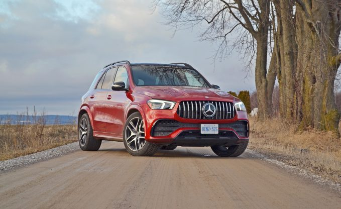 2021 Mercedes-AMG GLE 53 in red front three-quarter static shot