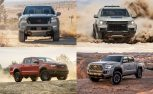 2022 Nissan Frontier versus Chevrolet Colorado, Ford Ranger, and Toyota Tacoma spec comparison header
