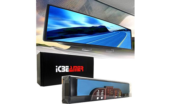 icbeamer 15.8-inch clip-on rear view mirror