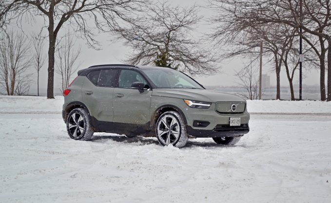 2021 Volvo XC40 Recharge in snowy weather front three-quarter static shot