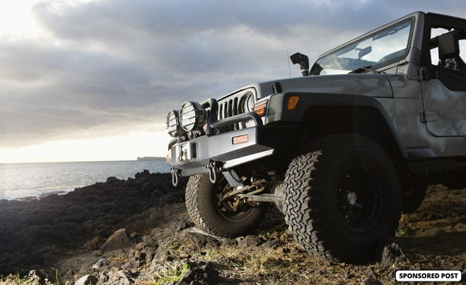 Jeep with off-road front bumper
