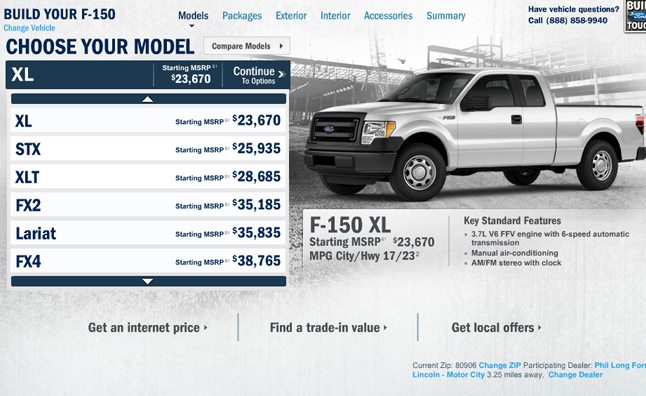Pricing For The Ford F  Pickup Truck Is Now Available Through The Automakers Online Configurator Starting At  Including A  Destination Fee