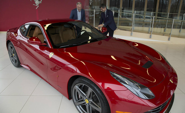 first us ferrari f12 berlinetta delivered to auction winner news. Black Bedroom Furniture Sets. Home Design Ideas