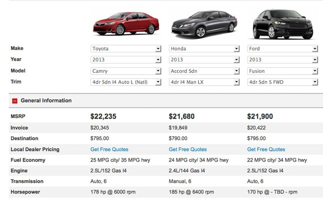 Compare Popular Cars Side By Side 187 Autoguide Com News