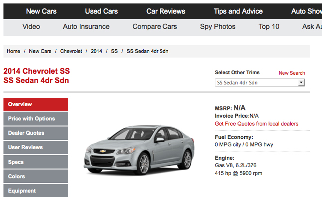 2014 Chevy Ss Added To Autoguide Car Shopping Database Autoguide