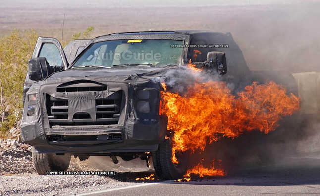 Proving Just How Hard Ford Pushes Its Big Trucks A 2016 Super Duty Prototype Has Caught On Fire Exploded And Burnt To Ashes During Testing