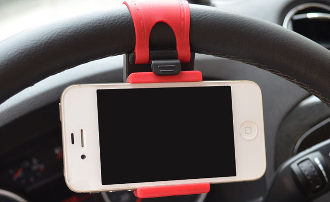 Greative-Car-Steering-Wheel-Mobile-Phone-Holder-Bracket-Stand-Socket-50-72mm-Adjustable-for-iPhone-4S