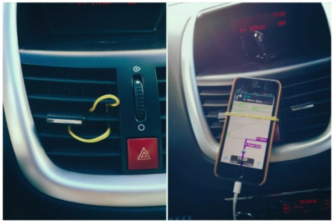 Make-a-phone-holder-for-your-car-using-a-single-elastic-band