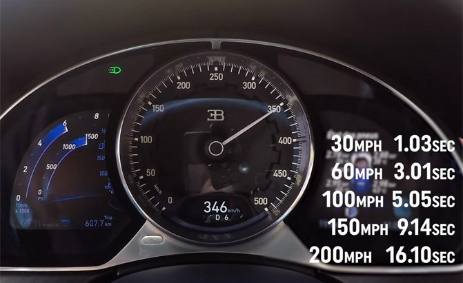 watch how fast the bugatti chiron accelerates 187 autoguide
